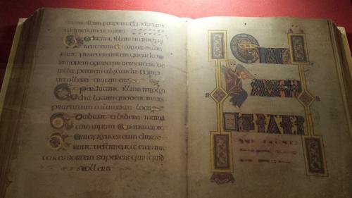 Replica of illuminated old Gaelic manuscript.