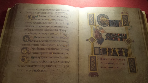 Replica of illuminated old Gaelic manuscript.