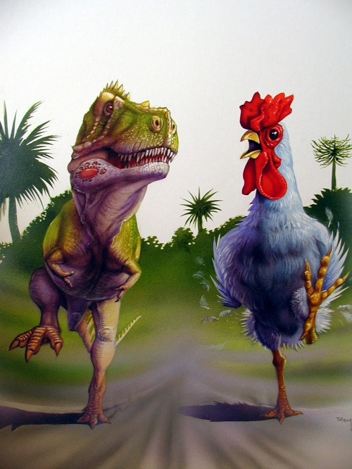 Would a T. rex prey on, or just scavenge, a giant chicken? (art by Luis Rey)