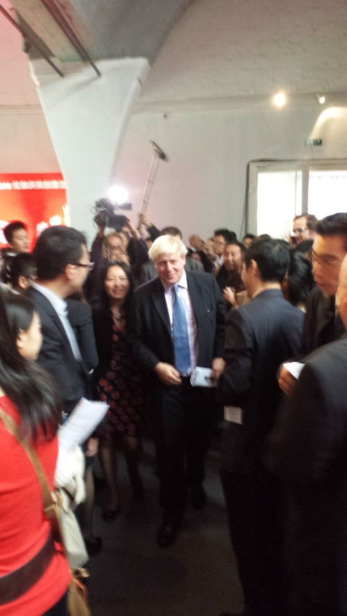 Boris arrives, and proceeds to tour the exhibits rather than give his speech as planned. But it worked out OK in the end; he had 2 exhibit tours and a speech in the middle.