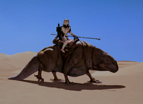 Stormtrooper on a Dewback in the Eastern Dune Sea (image source here).