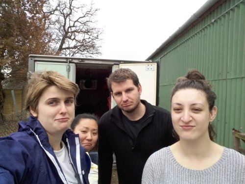 Aww. The freezer-moving team is not thrilled by the task ahead.